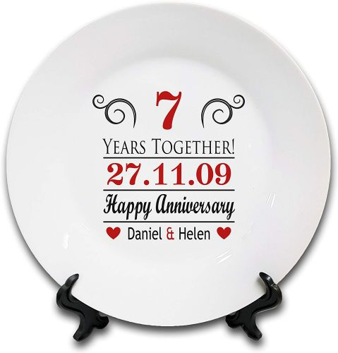 "8"" 'Personalised (Years Together) Happy Anniversary.' Novelty Ceramic Plate & Stand"